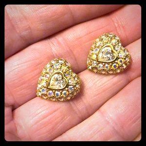 Swarovski iridescent heart stud earrings